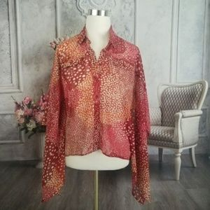 Bisou Bisou Women's Blouse Orange Size Small